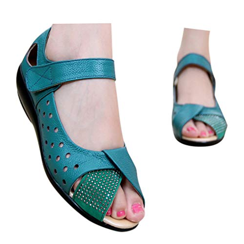 Veodhekai Womens Flats Shoes Embossed Fish Mouth Single Sandals Wedding Party Shoes Sweet Blue
