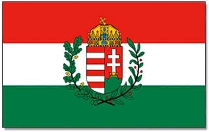 FahnenMax King Bandera de Hungría con Escudo Bandera/Bandera – Resistente a la Intemperie, Color Blanco, 150 x 90 x 1 cm, 16899: Amazon.es: Jardín