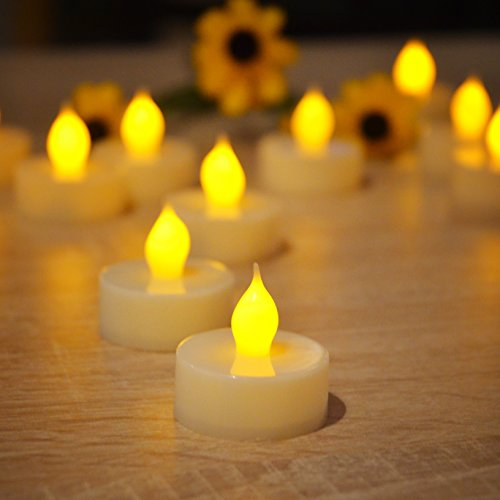 Premium Flameless Tea Lights-Long Lasting Battery Operated LED Tealights for Wedding Ceremonies or Parties-Realistic Flickering Effect-ELECAND's Led Tealight Candles are the Perfect Gift Idea(12 pack) ()