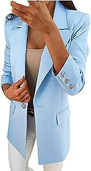 Women's Casual Blazer Jackets Loose Single Breasted Work Office Blazer Suit Fashion Turn Down Collar Jacke