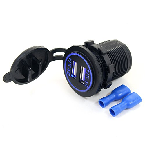 AOTOMIO Blue LED USB Car Charger Adapter Dual Ports USB Outlet 5V 4.2A Waterproof Cap for iPhone/iPad/iPod/Android Phone and Other USB Powered Devices (Applicable on car, Motorcycle & Boat)