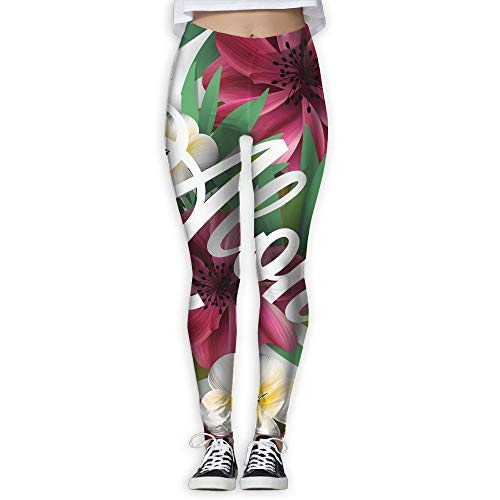 GUANJIAN Aloha Hawaii Hand Lettering With Hibiscus Pink Lily Orchid Plumeria Flowers Palm Leaf Vector Women's High Waist Yoga Pants Abdominal Control Exercise Stretch Yoga Leggings M