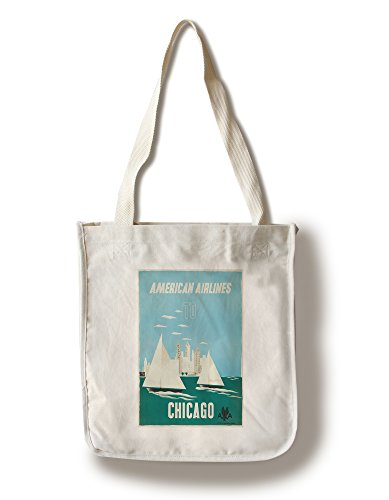 - Lantern Press American Airlines - Chicago (Artist: Kauffer) USA c. 1951 - Vintage Advertisement (100% Cotton Tote Bag - Reusable)
