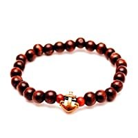 RAVE Mens Shamballa Wood Bead Bracelet Brown with Gold Anchor Charm