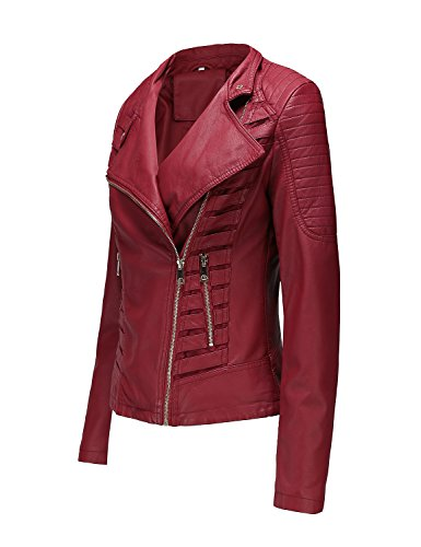 af59a4f4105 Bellivera Women s Faux Leather Short Jacket,Moto Casual Coat for Autumn and  Spring