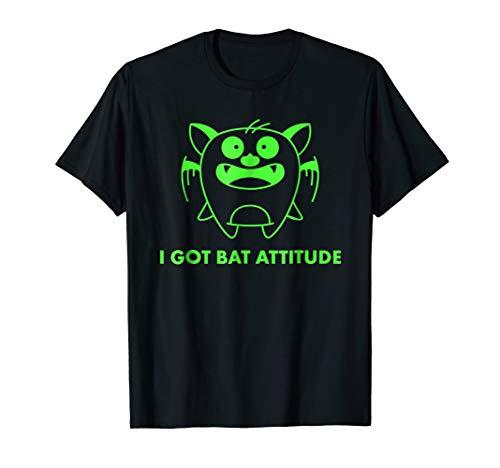 Funny Bat Attitude Bat Tee. Cute Witty Bat Halloween Shirt -