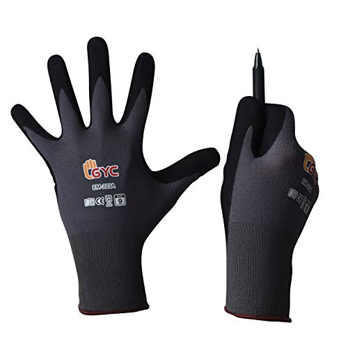 GYC Gloves, DIY Gardening, Food Contact ECO Micro Finish Safety Work Gloves - 10 Pairs Pack - General Work Glove, Comfortable Grip, Anti-Slip (EM-223A / SIZE 7 - Small, 10 Pairs) ()