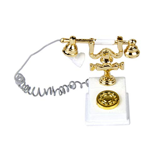 NATFUR 1:12 Dollhouse Vintage Antique Victorian Telephone Miniature White Gold ()
