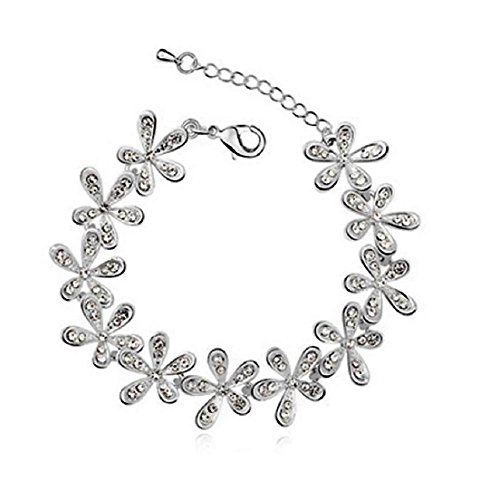 Wearyourfashion Platinum Plated Crystal Rhinestone Full Flower Bracelet for Women