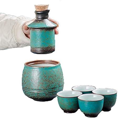 Juego de 6 copas de vino japonesas de sake de cerámica azul esmaltada con olla calentadora, textura pintoresca para frío, calor, Shochu, té, el mejor regalo para familiares y amigos