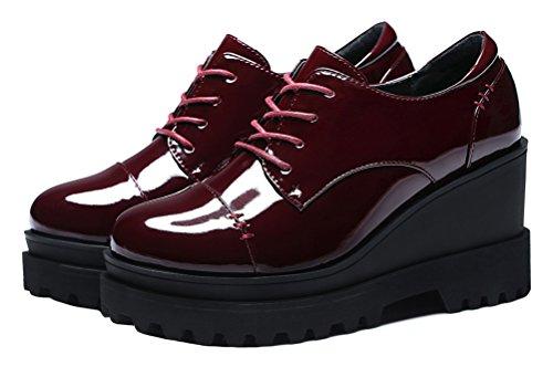 Guciheaven Femmes Wedges Appartements En Cuir Verni Chaussures De Travail Occasionnels (noir / Rouge) Rouge