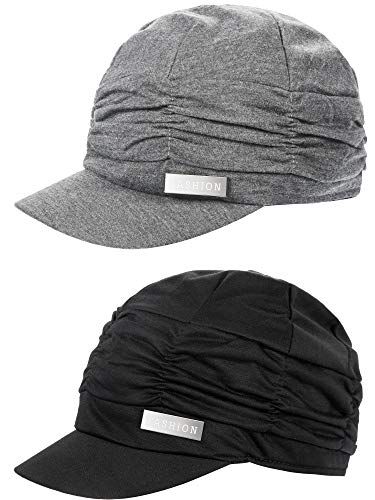 SATINIOR 2 Pieces Women Newsboy Cabbie Cap Beret Hats/Cap Bamboo Baseball Cap Hair Loss Turbans Cloche Cotton Painter Visor Hats Soft Hats for Women
