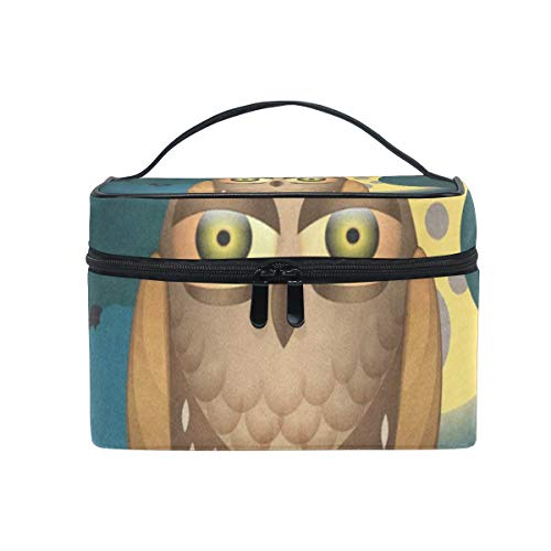 Makeup Organizer Cute Halloween With Full Moon Bats And Owl Womens Zip Toiletry Bag Large Case Cosmetic Bags