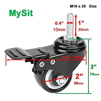 MySit 2 Pack of 8 Casters with Brake Lock Threaded Stem Bolt M10x25 Heavy Duty Swivel Stem Brake Caster Wheels with Hardwares Nuts for Shopping Carts Trolley