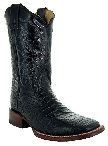 Soto Boots Men's Caiman Belly Print Cowboy Boots H4001 (Black,7.5)
