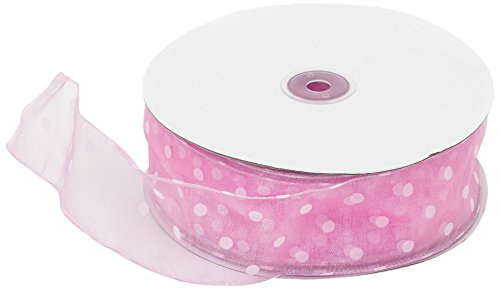 LinenTablecloth White Dots on Pink Organza Wired Ribbon, 2-Inch by 50-Yard
