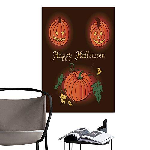 UHOO Linen Art Prints PicturesVector Pumpkin Set Happy Halloween.jpg Wall Art for Bedroom Living Room 20