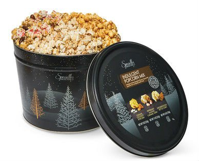 Christmas Gourmet Popcorn Tin - Indulgent Mix Gift - 3 Flavors: Caramel Coconut - Peppermint Almond Caramel Corn - Snickerdoodle Kettle Corn