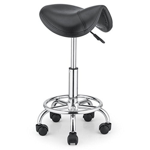 Artist Hand Hydraulic Salon Saddle Seat Swivel Stools Height Adjustable Rolling Stool Chair for Medical Massage Office and Home by Artist Hand