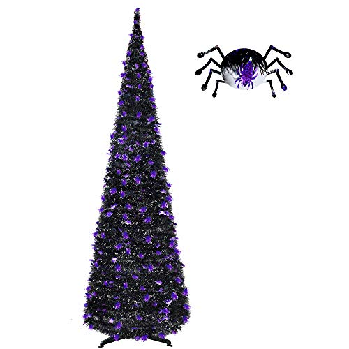 6FT Pop Up Tinsel Pencil Trees for Halloween Decoration with Plump Shiny Spider sequins, Collapsible Artificial Halloween Xmas Tree with Plastic Stand for Fireplace & Entrance & Front desk,Party Decor]()