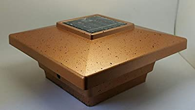 "Solar Post Cap Light LED Low Profile Copper Color 4""x4"" inch for Vinyl & Wood Bright 4x SMD LED Lighting"