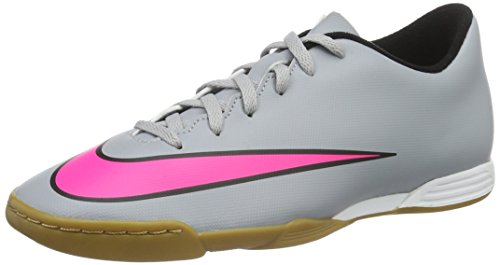 Nike Herren Mercurial Vortex II IC Fußballschuhe Grau / Pink / Schwarz (Wolf Grau / Hyper - Rosa-Schwarz-Schwarz)