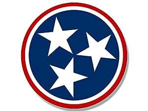 Amazon Com Round Red Tennessee 3 Stars Logo Sticker Decal Flag Tn Tenn Automotive