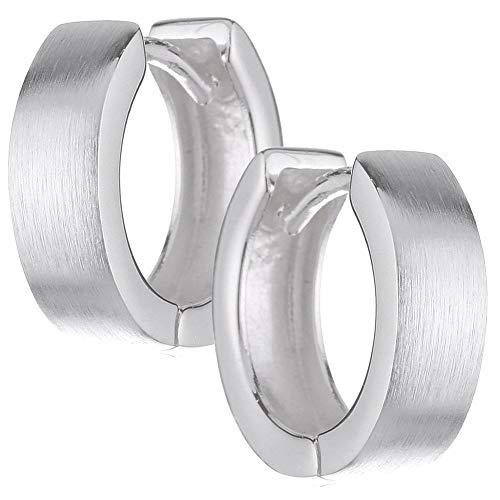 sense925 Sterling Silver Hinged Hoop Earrings Earrings Polished Shiny Radius 1.5 cm