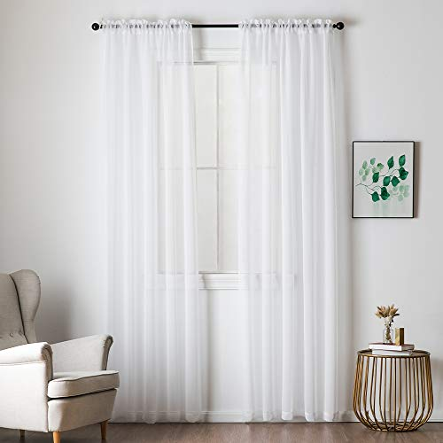 MIULEE 2 Panels Solid Color Semi Sheer Window Curtains Elegant Decoration Window Voile Panels/Drapes/Treatment Linen Textured Panels for Bedroom Living Room (54X108 Inches White)