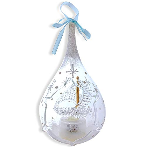 BANBERRY DESIGNS Memorial Glass Christmas Ornament - Remembrance Ornament Sailboat inside, Gone From Our Sight Poem, Glass, LED Color-Changing, 7.25