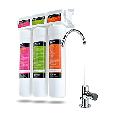Brondell H2O+ Coral 3-Stage Under Counter Water Filter System with LED Faucet, Removes over 99% of Lead. WQA Gold Seal Certified.