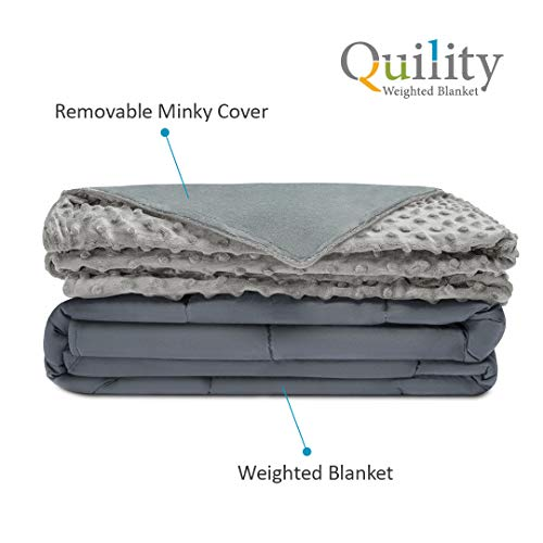 """Quility Premium Weighted Blanket Cover   60""""x80""""   for Between 190-240 Full Size Premium Beads   Cotton/Minky  """