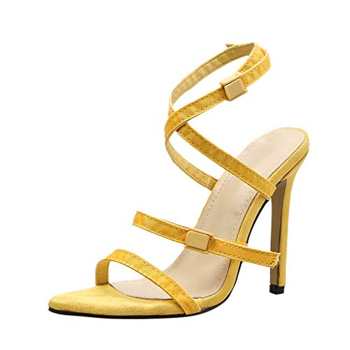 - OrchidAmor Summer Women's Sexy Roman Ladies Party Prom Buckle Strappy Heel Shoes Sandals Yellow