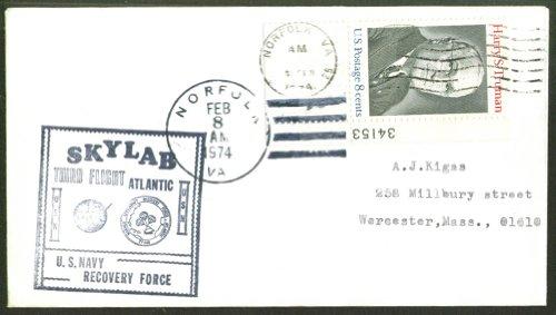 Skylab 3rd Flight Navy Recovery cover Norfolk 1974