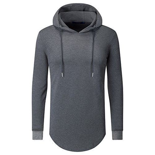 Aiyino Mens Hipster Hip Hop Classic Pullover Long Hoodie Side Zipper Long Sleeve T Shirt (US L, Dark Grey) L/s Shirt Jacket