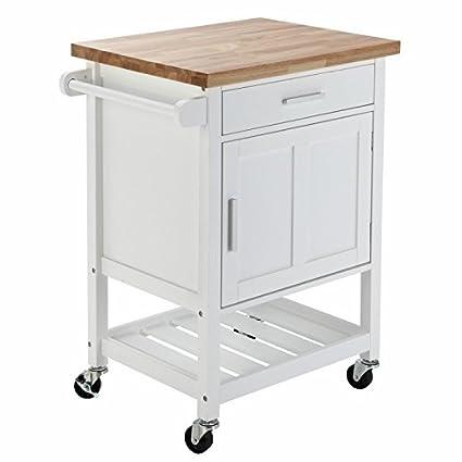Homegear Deluxe – Carro de almacenamiento Cocina isla con caucho corte bloque sobre ruedas