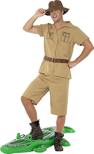 Smiffy's Men's Safari Man Costume, Shirt, Shorts, Belt and Hat, Icons and Idols, Serious Fun, Size L, (Zoo Keeper Costume Adult)