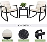 Devoko 3 Piece Rocking Bistro Set Wicker Patio