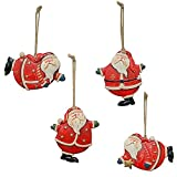 WHY Decor Cute Resin Santa Claus Tree Ornament Decorative Hanging Santa Claus Decoration Santa Claus ornament Xmas Ornament Holiday Decor for Home Party Set of 6