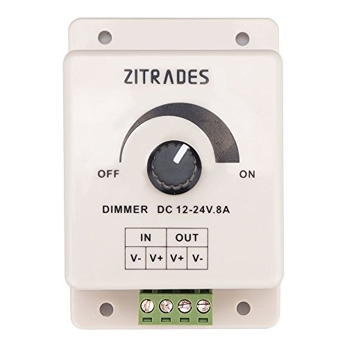 PWM Dimming Controller For LED Lights or Ribbon, 12 Volt 8 Amp,Adjustable Brightness Light Switch Dimmer Controller DC12V 8A 96W for Led Strip Light By (Adjustable Brightness Led)