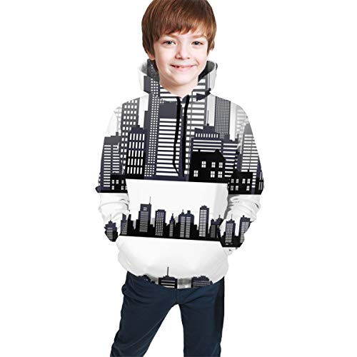 Teen Hooded Sweatshirts,Silhouette Long Buildings Skyline Real Estate Pattern Architecture Inspirations XL (Best Real Estate School In Texas)
