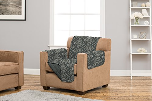Strap Furniture Collections (Kingston Collection Deluxe Reversible Stain Resistant Furniture Protector with Beautiful Printed Pattern. Includes Adjustable Straps. By Home Fashion Designs Brand. (Chair, Charcoal))