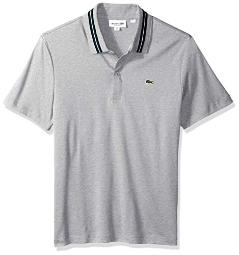 Lacoste Men's Short Sleeve PIMA REG FIT Contrast Collar Polo, Silver Chine/Black/Meridian XX-Large