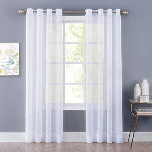 Crushed Voile - NICETOWN Sheer Curtains 84 inches Long - Crushed Sheer Window Treatment Voile Drape Panels with Grommet Top for Sliding Glass Door (2-Pack, 52 Wide x 84 inch Long, White)