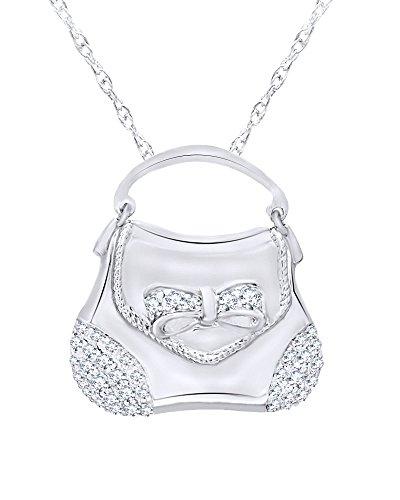 Wishrocks Diamond Handbag Pendant in 14K White Gold Over Sterling Silver (1/3 CT)