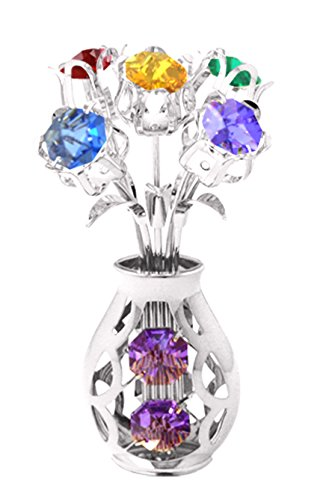 Chrome Silver Plated 5 Flowers in Vase Free Standing with Mixed Swarovski Element - Night Plated Light Silver