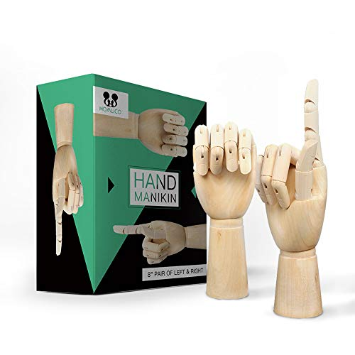 Wooden Hand Model Flexible Moveable Fingers Manikin Hand Figure Both Left and Right Hand for Sketching Drawing Home Office Desk Posable Joints Kids Children Toys Gift 8 ()