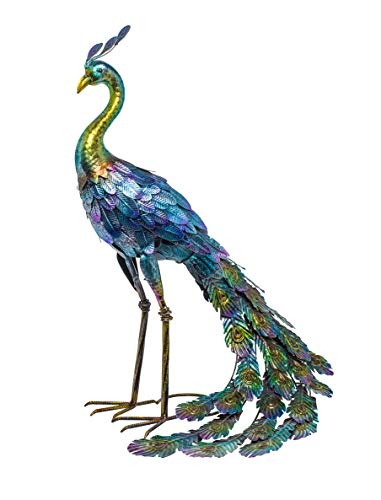 Alpine Corporation JUM208 Metal Peacock Outdoor Décor Statue, 27 Inch Tall, Multi-Color
