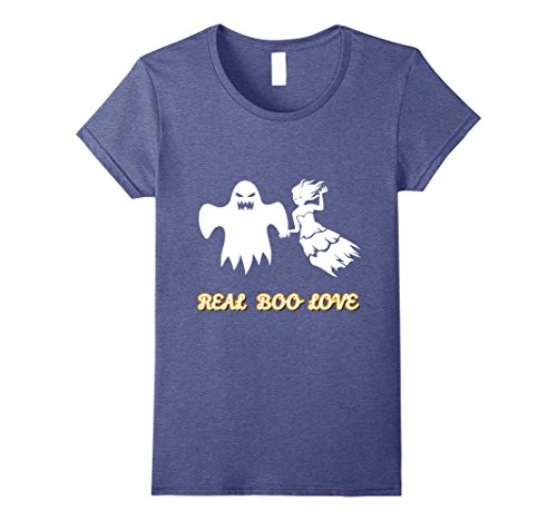[Womens Couples Unique Scary Halloween costumes T shirt Ghosts love Small Heather Blue] (Top 10 Scariest Halloween Costumes)