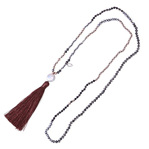 KELITCH Bohemian Faceted Crystal Bead Chain Necklace Mother Pearl Tassel Pendant - Dark Brown